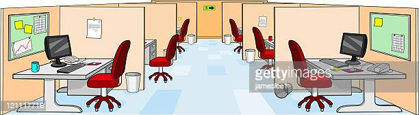 call center - office cubicle stock illustrations, clip art, cartoons, & icons