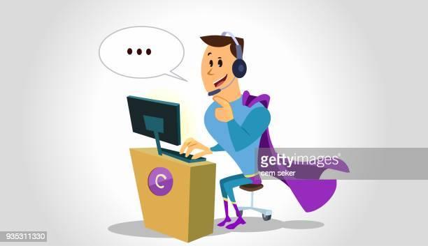 illustrazioni stock, clip art, cartoni animati e icone di tendenza di call center - reggere
