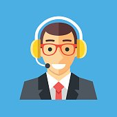 Call center worker, call centre agent. Customer service operator, online help, manager, technician. Smiling happy man with headset. Vector icon