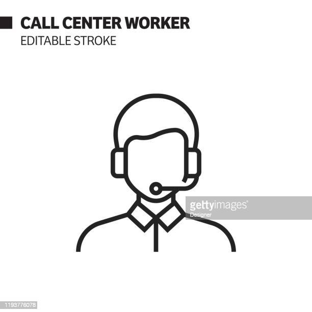 call center worker line icon, outline vector symbol illustration. pixel perfect, editable stroke. - assistance stock illustrations
