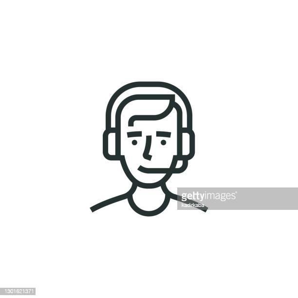 illustrazioni stock, clip art, cartoni animati e icone di tendenza di icona riga lavoratore call center - reggere