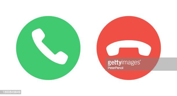 call icons. phone dial symbols. answer and decline. green and red. yes and no. vector illustration - glühend stock illustrations