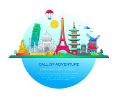 Call of adventure - vector line travel illustration