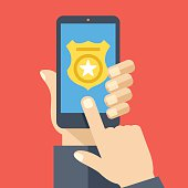 Call police app on smartphone screen. Emergency call concept