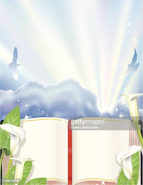 calla lilies bible and sunrays - calla lily stock illustrations, clip art, cartoons, & icons