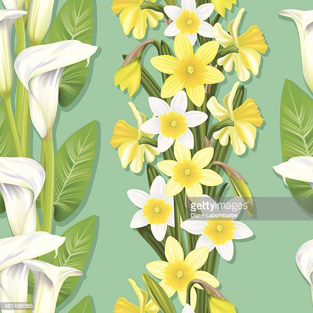 calla lilly and daffodil seamless pattern - calla lily stock illustrations, clip art, cartoons, & icons