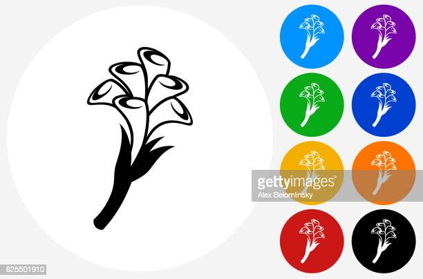 calla lily flowers icon on flat color circle buttons - calla lily stock illustrations, clip art, cartoons, & icons