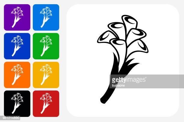 calla lily flowers icon square button set - calla lily stock illustrations