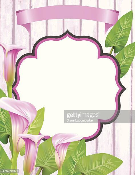 calla lily frame - calla lily stock illustrations, clip art, cartoons, & icons