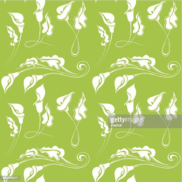 calla seamless pattern - calla lily stock illustrations, clip art, cartoons, & icons