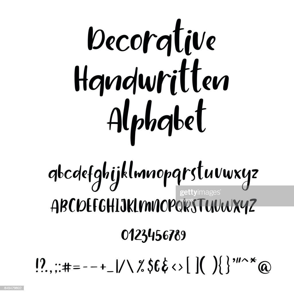 Calligraphic Alphabet Handwritten Brush Font Uppercase