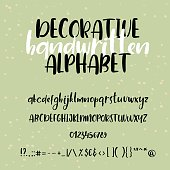 Calligraphic alphabet. Handwritten brush font. Uppercase, lowercase, numbers. Wedding calligraphy