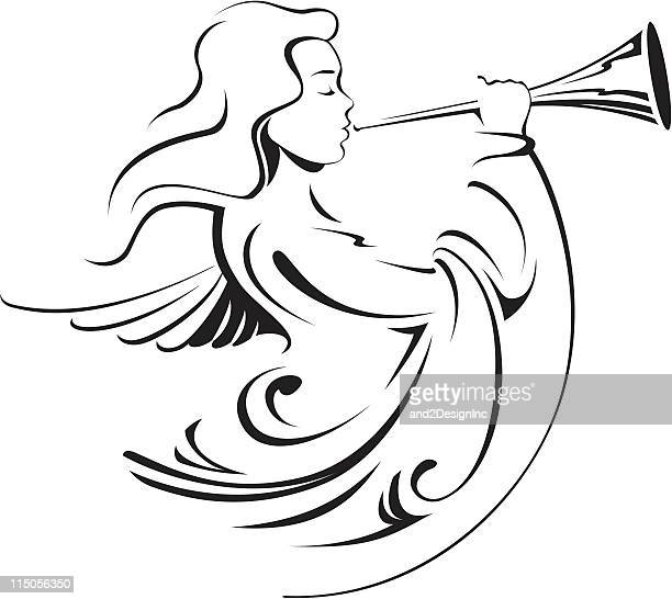 calligraphic angel - angel stock illustrations