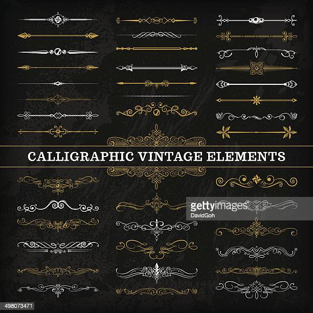 calligraphic chalkboard elements - classical stock illustrations