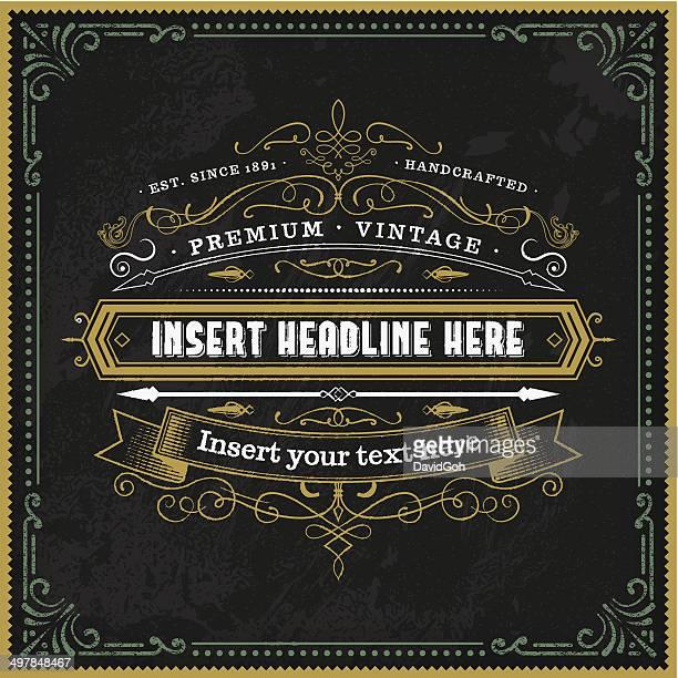 Calligraphic Chalkboard Vintage Label