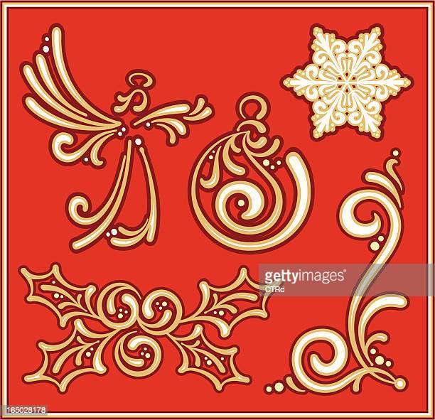 calligraphic christmas elements - embellishment stock illustrations
