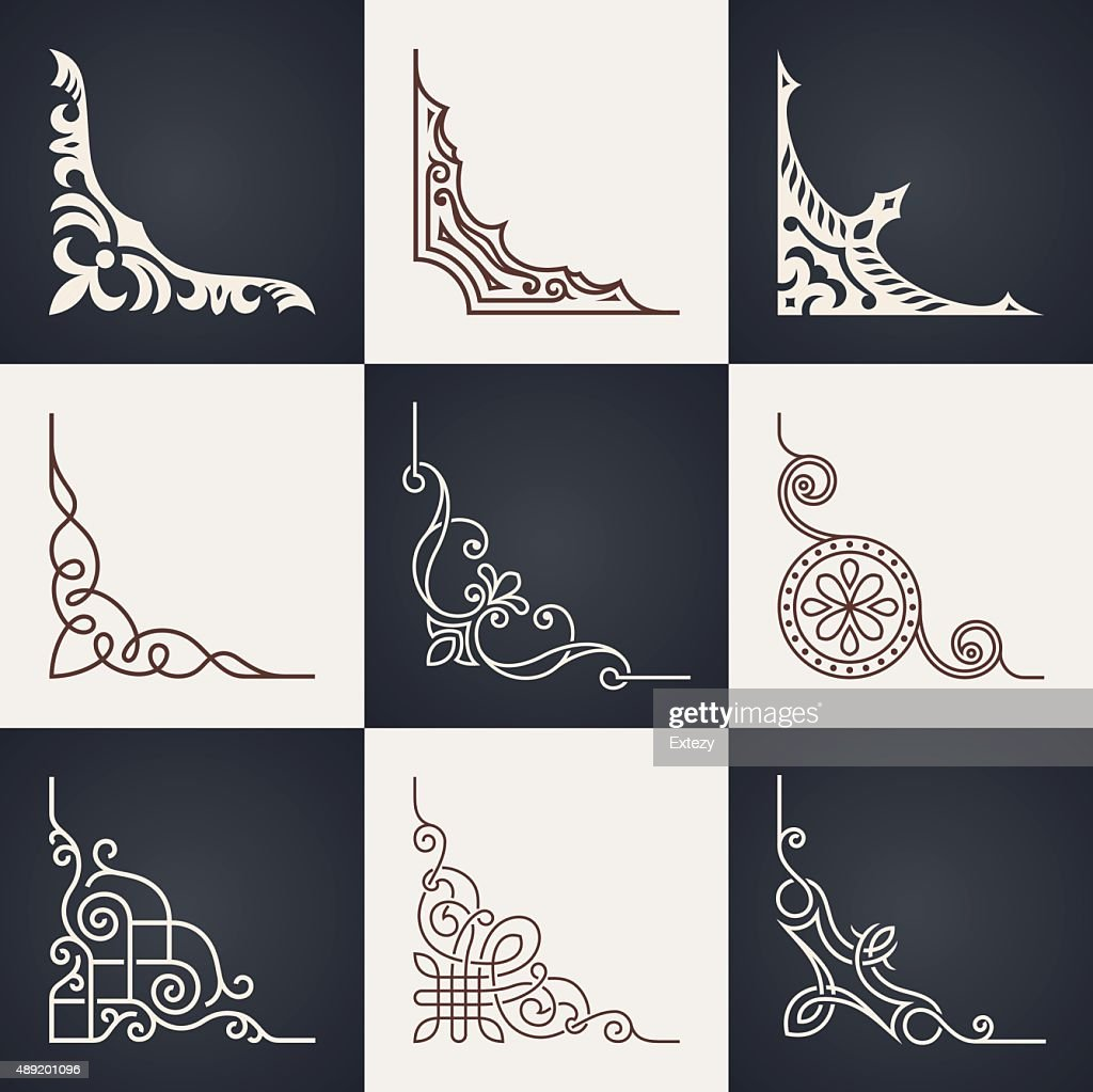 Calligraphic design elements. Vintage corners set