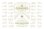 Calligraphic design elements vintage ornaments swirls and scrolls ornate decorations vector design elements