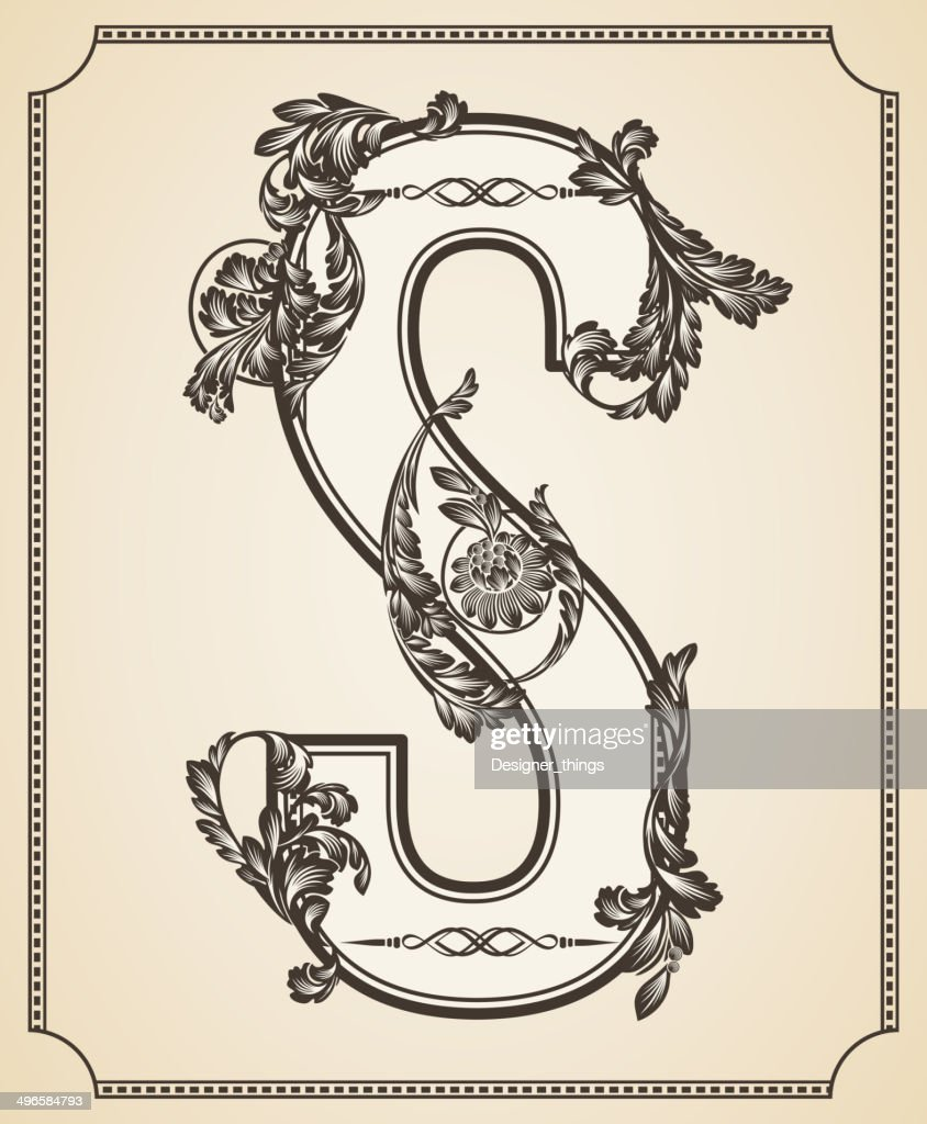 Calligraphic Design Font with Typographic Floral Elements. Letter S