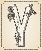 Calligraphic Design Font with Typographic Floral Elements. Letter Y