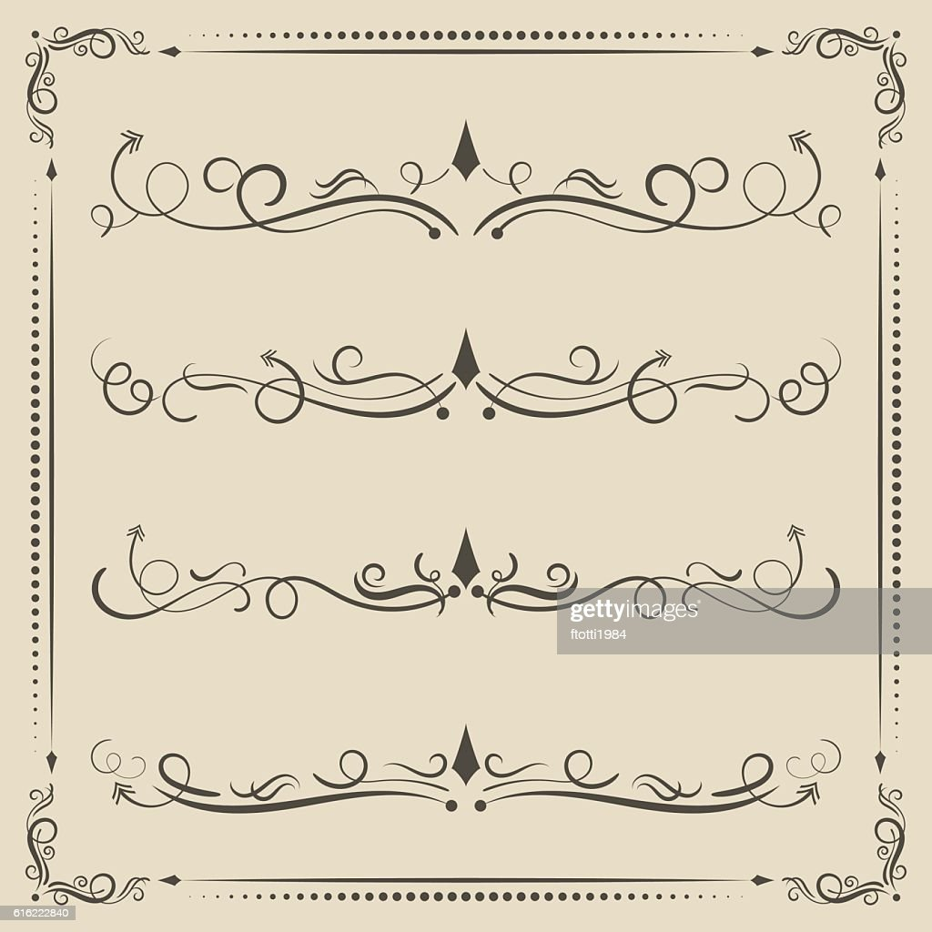 Calligraphic design vector elements, curves and spirals. : Vektorgrafik