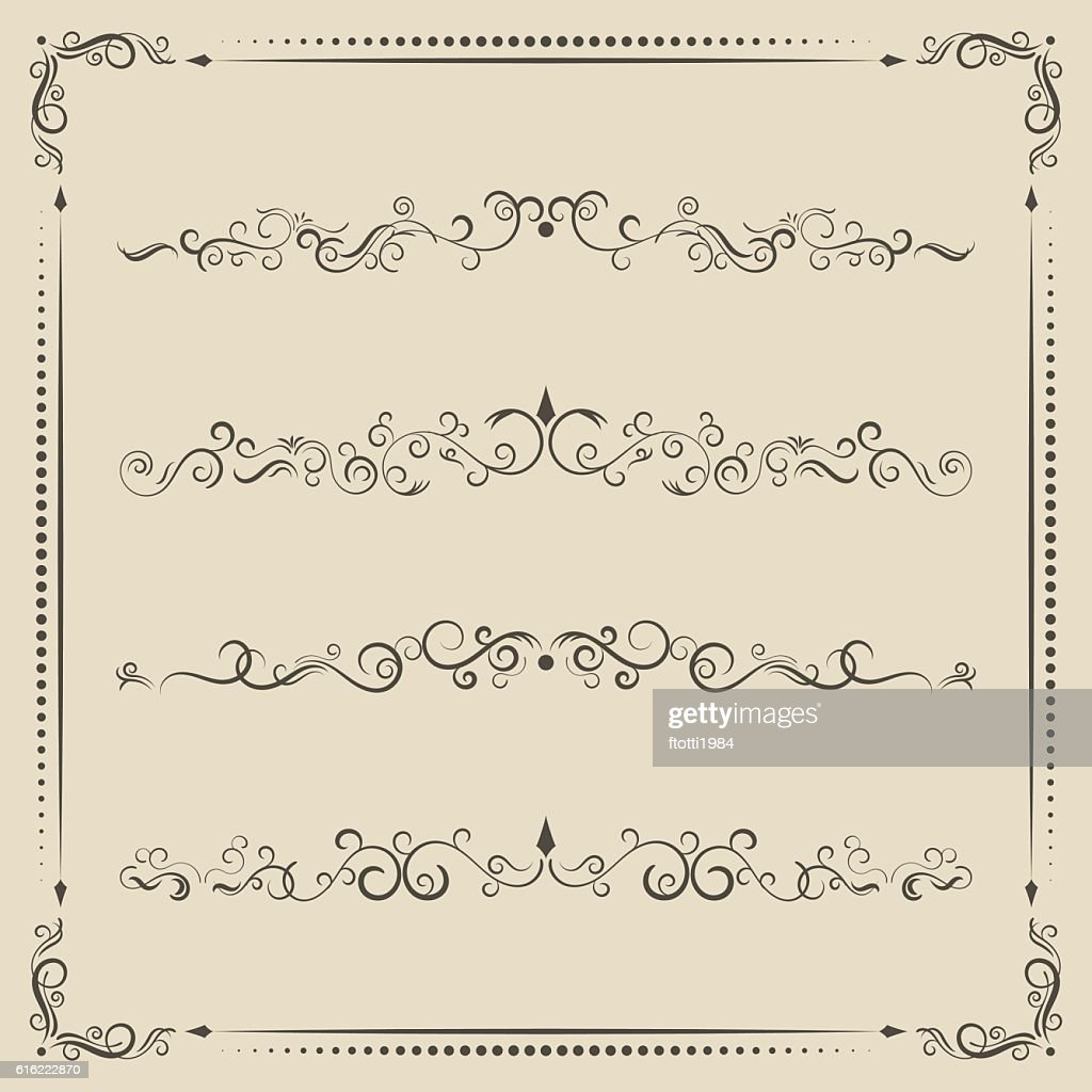 Calligraphic design vector elements, curves and spirals. : Vector Art