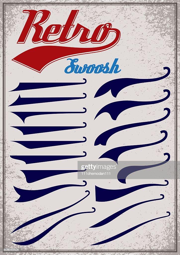 calligraphic elements for design inscriptions in retro style.