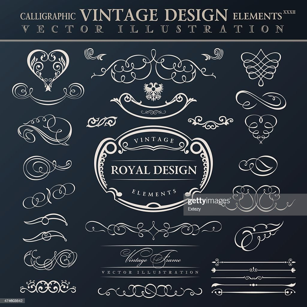 Calligraphic elements vintage ornament set. Vector frames orname