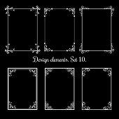 Calligraphic floral frames. Vector vintage flourish decorative borders