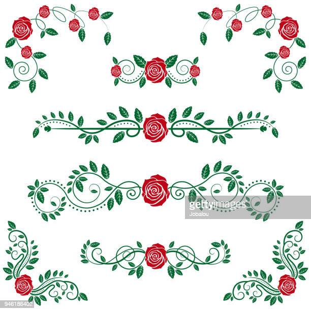 calligraphic floral scroll and roses - filigree stock illustrations