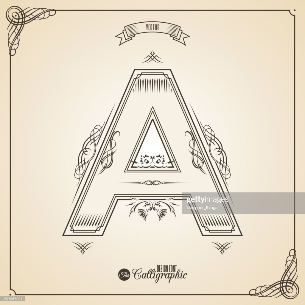 Calligraphic Fotn with Border, Frame Elements and Invitation Design Symbols