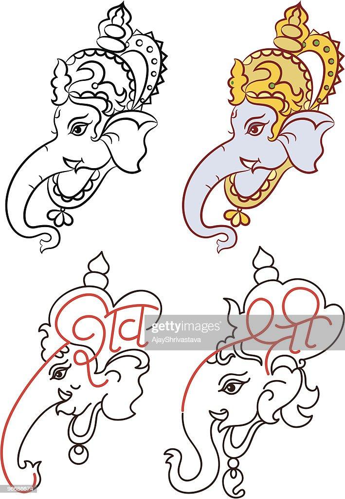 Calligraphic Ganesha set
