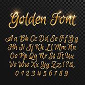 Calligraphic golden letters. Vintage elegant gold font. Luxury vector script