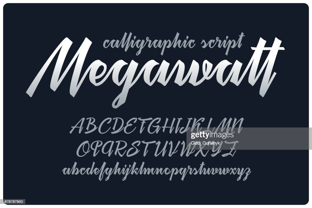 "Calligraphic handwritten font named ""Megawatt"" with connected letters."