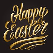 Calligraphic Happy Easter lettering template
