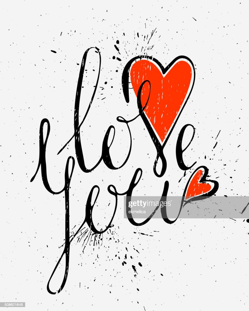Calligraphic inscription Love you. : Vector Art
