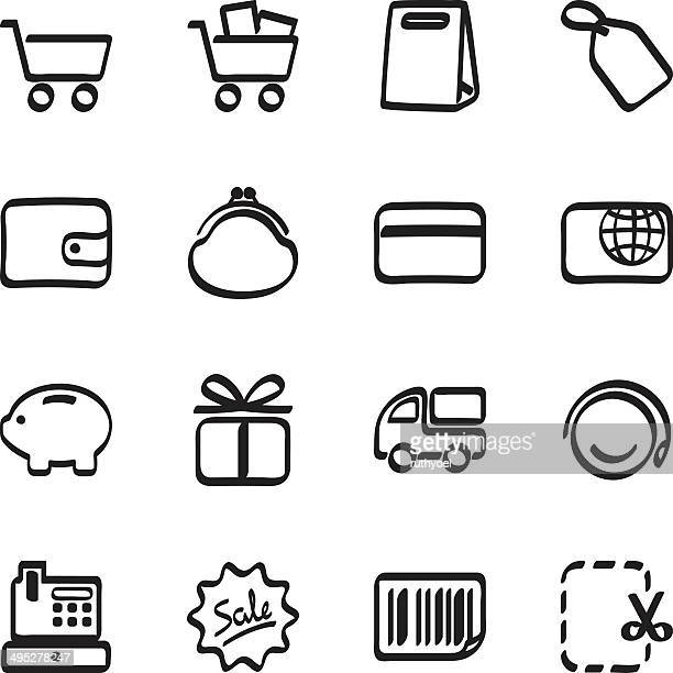 calligraphic shopping icons - cash flow stock illustrations, clip art, cartoons, & icons