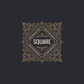 Calligraphic square Ornament Frame Lines. Restaurant menu. Luxury vintage ornate greeting card with typographic design