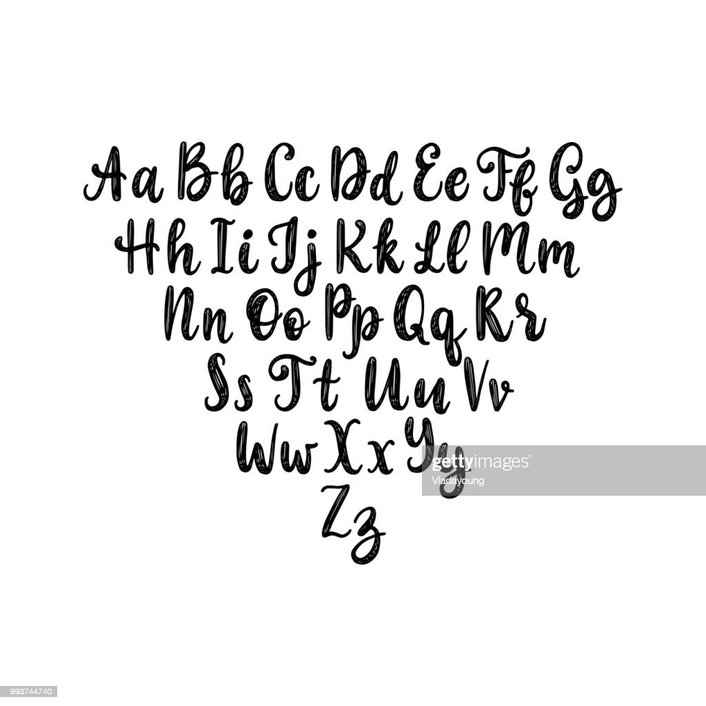 Calligraphic straight font letters on white background.Vector hand lettering alphabet.