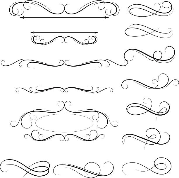 calligraphic swirl - swirl stock illustrations