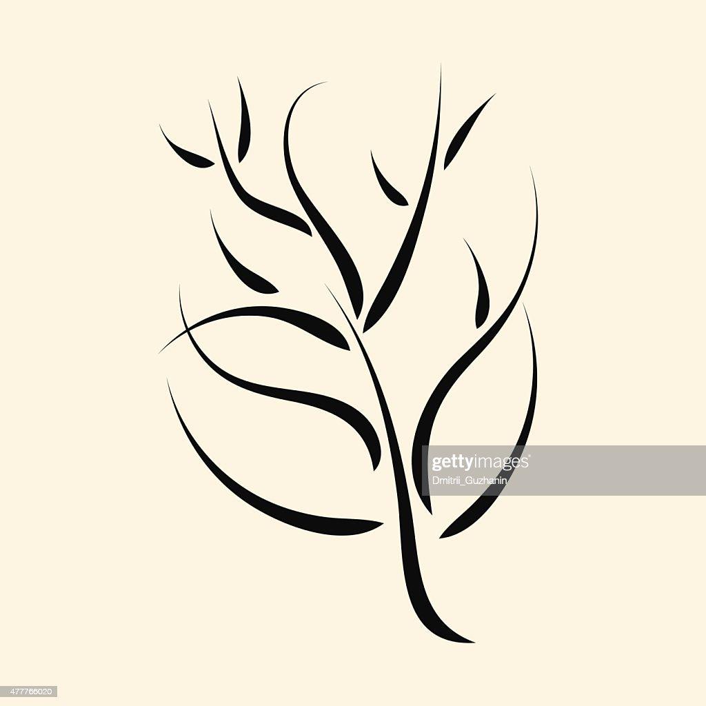 Calligraphic tree or bush