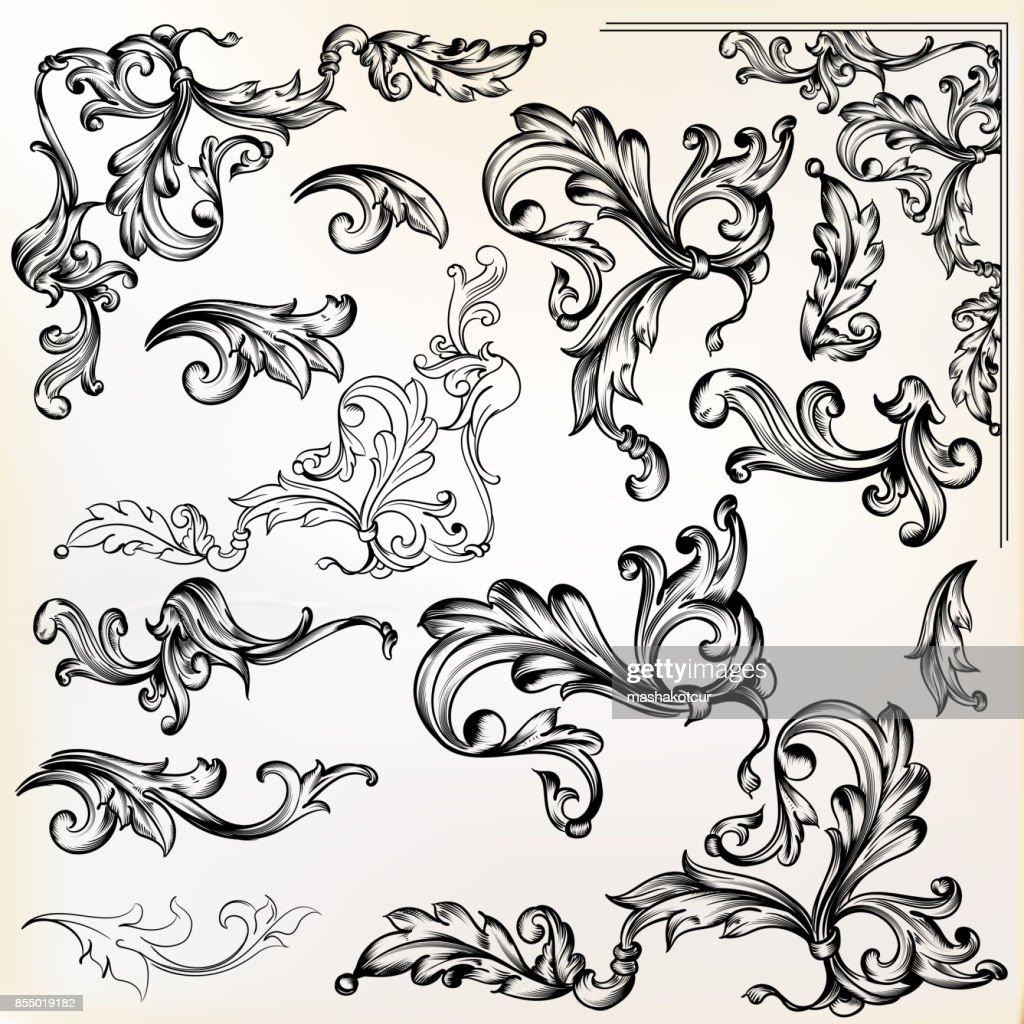 Calligraphic vector vintage design elements and swirls