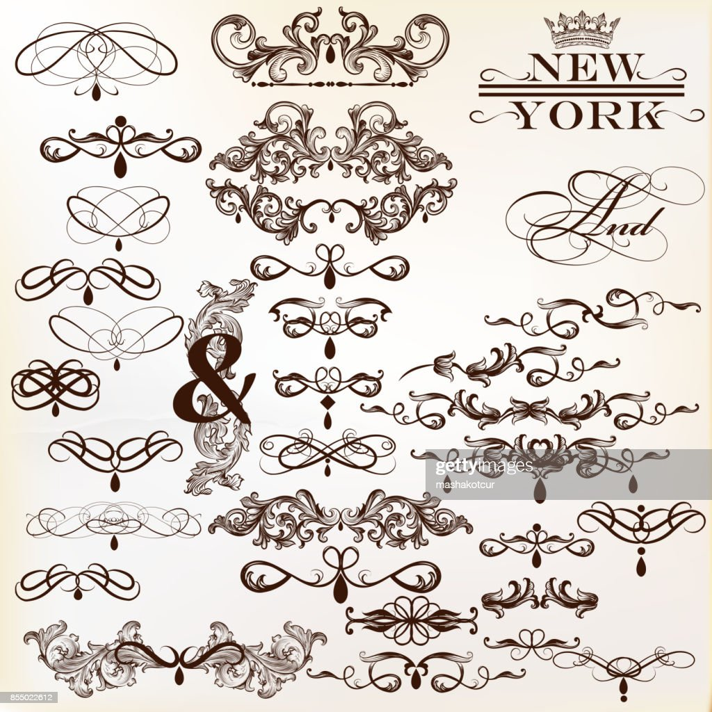 Calligraphic vector vintage design elements