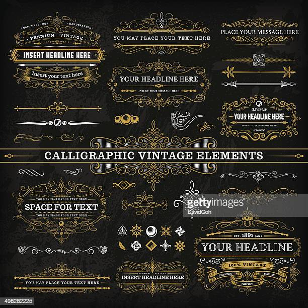 calligraphic vintage elements - complete set - intricacy stock illustrations
