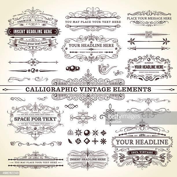 Calligraphic Vintage éléments ensemble complet
