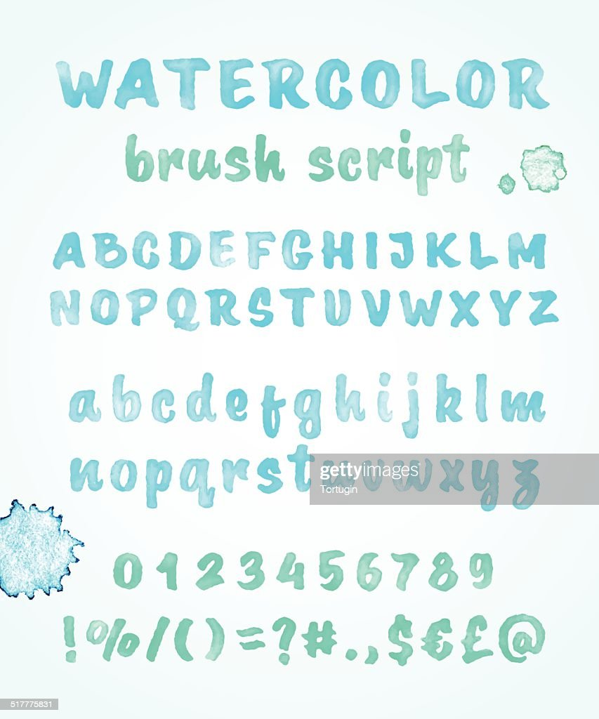 Calligraphic watercolor vector alphabet