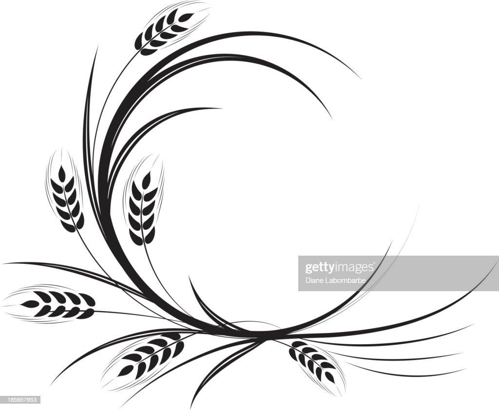 Calligraphic Wheat Ornament