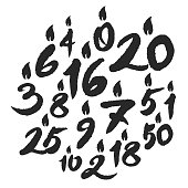 Calligraphy Birthday Candles Numbers