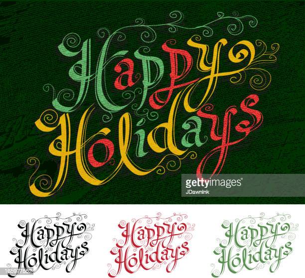 Calligraphy Happy Holidays script type variations