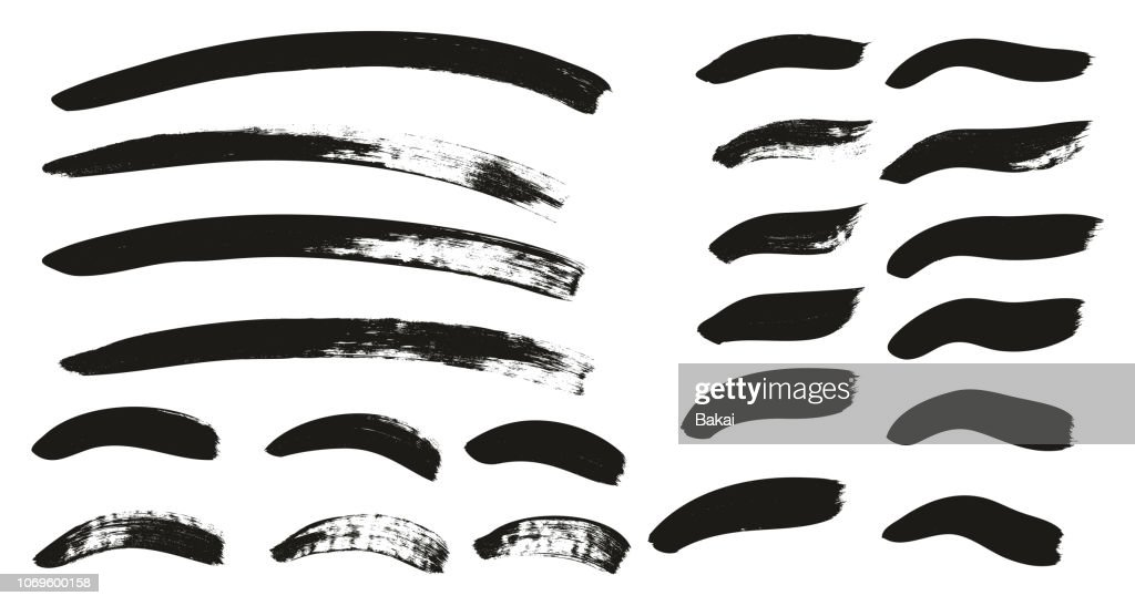 Calligraphy Paint Brush Background & Lines Mix High Detail Abstract Vector Background Set 126